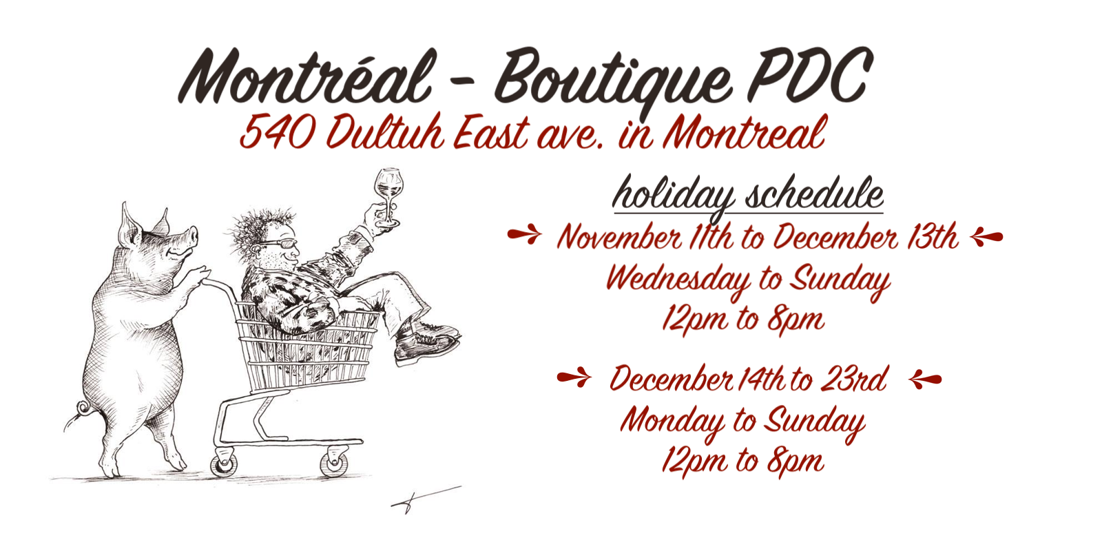 Montreal boutique PDC schedule